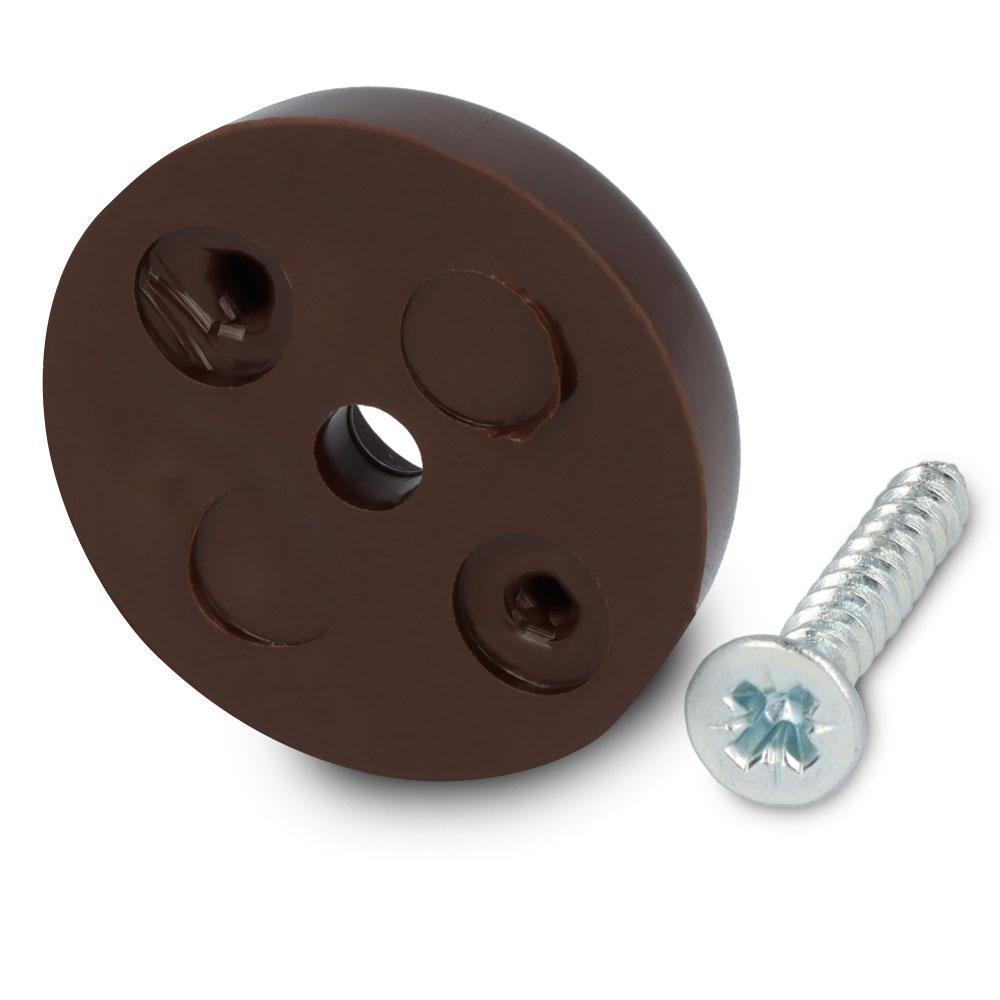 Schraubstopper rund, Braun, Kreuz, Gleiter-Ø: 24 mm