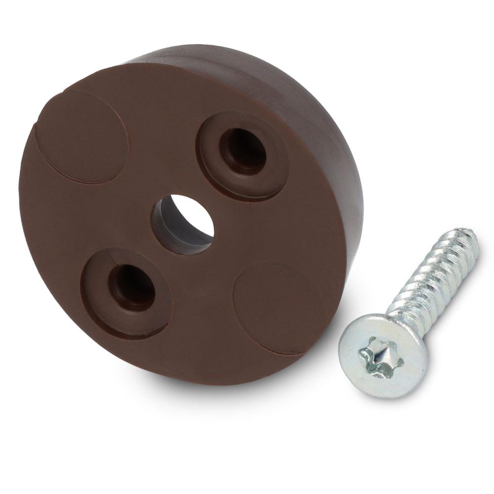 Schraubstopper rund, Braun, Torx, Gleiter-Ø: 20 mm